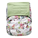 Baby AIO Cloth Diaper Shell One Size – Hook and Loop, Attached Insert (Garden) (Color: Garden, Tamaño: One Size)