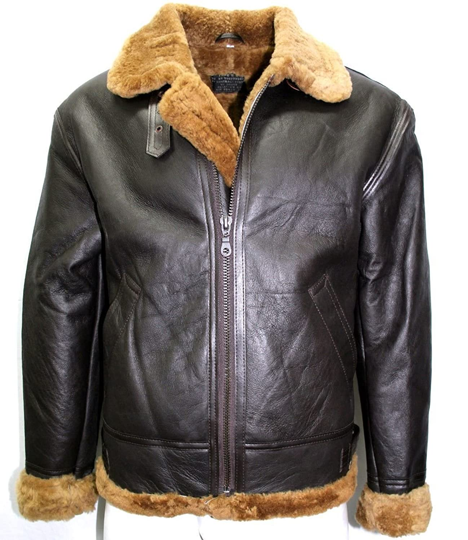 Mann grossen Schnitt aus echtem Lammfell Schaffell B3 Avaitor Pilot WW2 BRAUN mit Ingwer Fell warm Leder Jacke Mantel kaufen