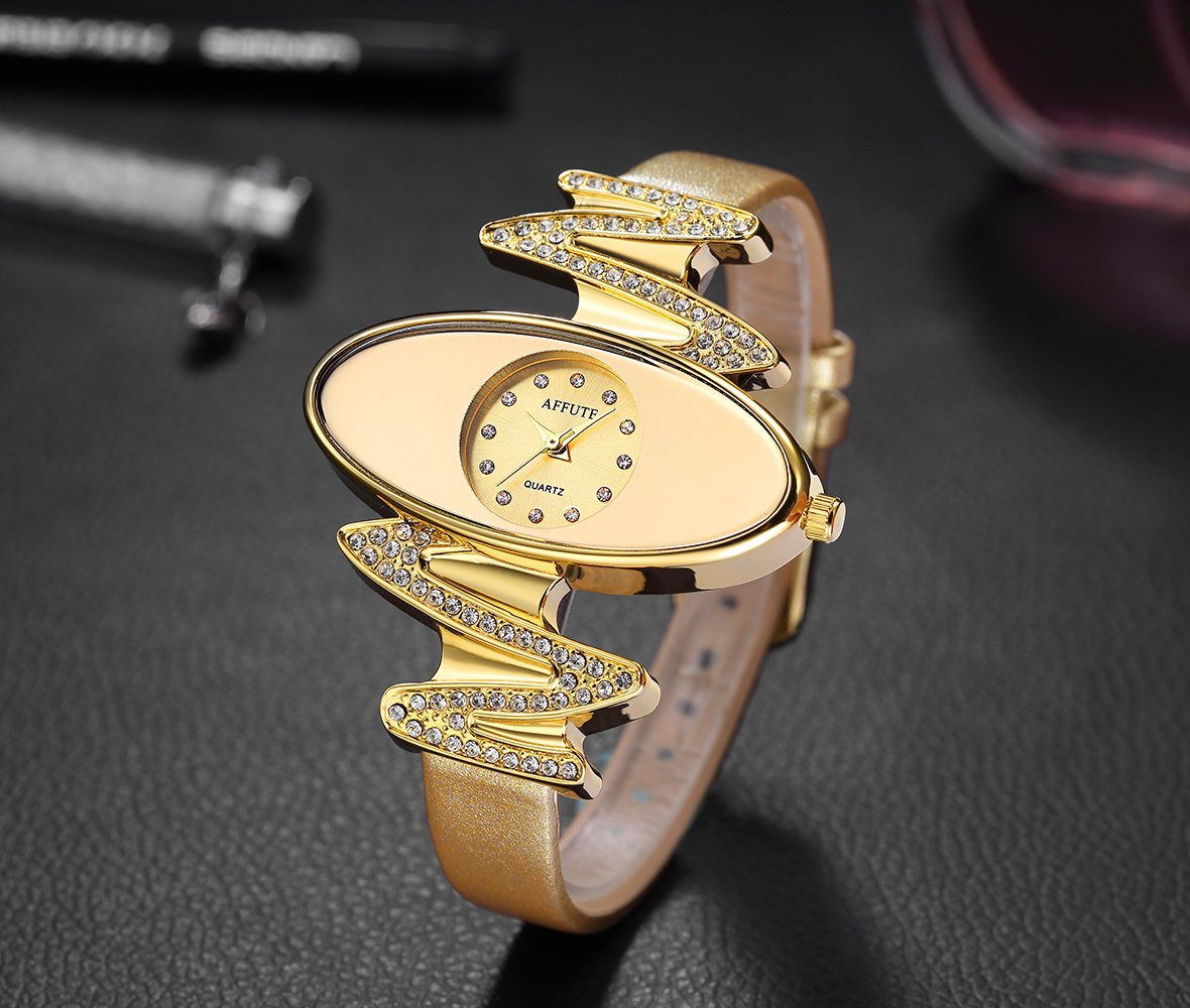 Retro Gold Leather Strap Brand Women Watch Strass Rhinestone Jewelry Quartz Wrist Watches 2