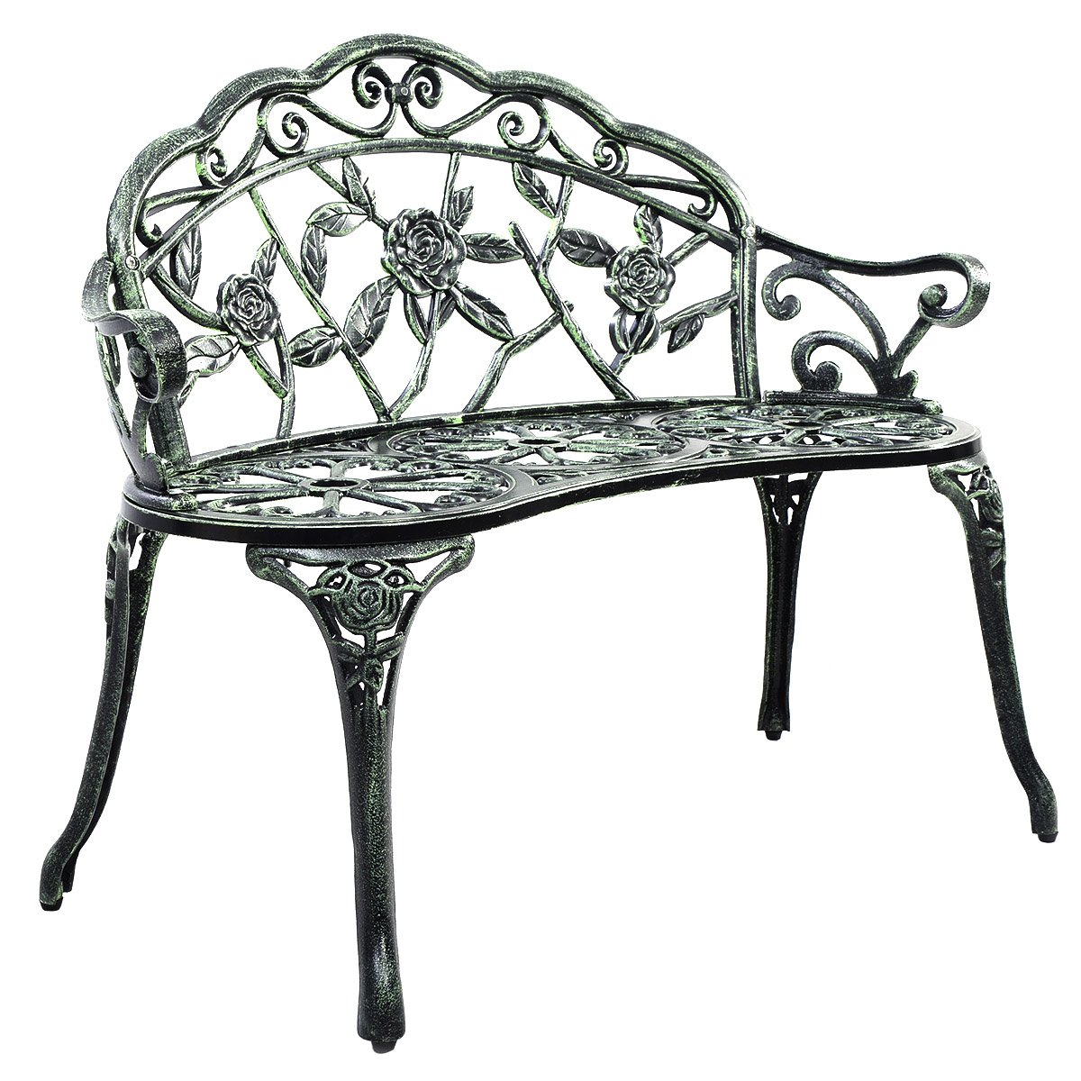 Giantex Patio Garden Bench Chair Style Porch Cast Aluminum Outdoor Rose Antique Green 0