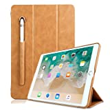 iPad 5th Generation Case PU Leather,Miya 9.7 Inch 2017/2018 Smart Case with Apple Pencil Holder Slim Tri-fold Stand Sleeve Case Pouch Compatible with New iPad 5th / iPad 6th Generation - Light Brown (Color: Light Brown, Tamaño: iPad 9.7 2017/2018)