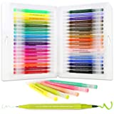 Dual Brush Pen Art Markers,36 Vibrant Colors Drawing Pen Coloring Markers Color Pen for Painting Drawing Coloring Calligraphy Lettering,with Flexible Brush&Fine Tip,Great for Adults Kids and Beginner (Color: 36 Colors)
