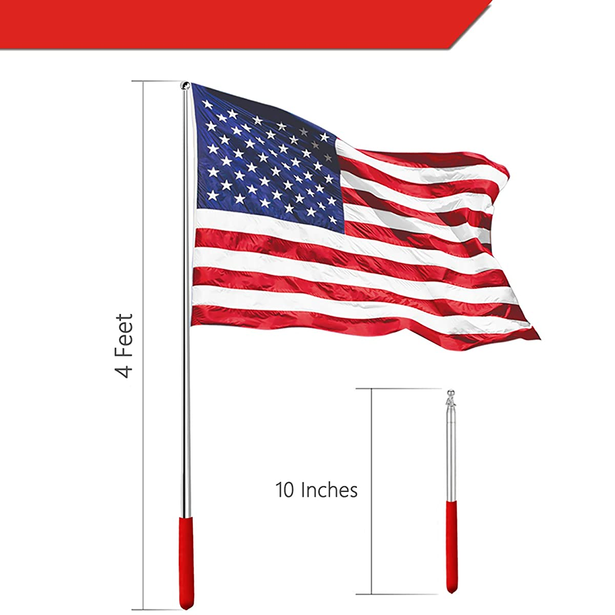 Anley 4 Feet Telescopic Handheld Flagpoles, Portable Staff with Clips - Lightweight Extendable Stainless Steel with Anti-Slip Grip - Collapsable Flag Pole for Tour Guides & Pointer for Teachers