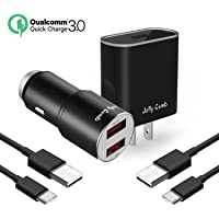 Jelly Comb Quick Charge 3.0 Dual USB Car Charger + 2-Pack USB Type C Cables