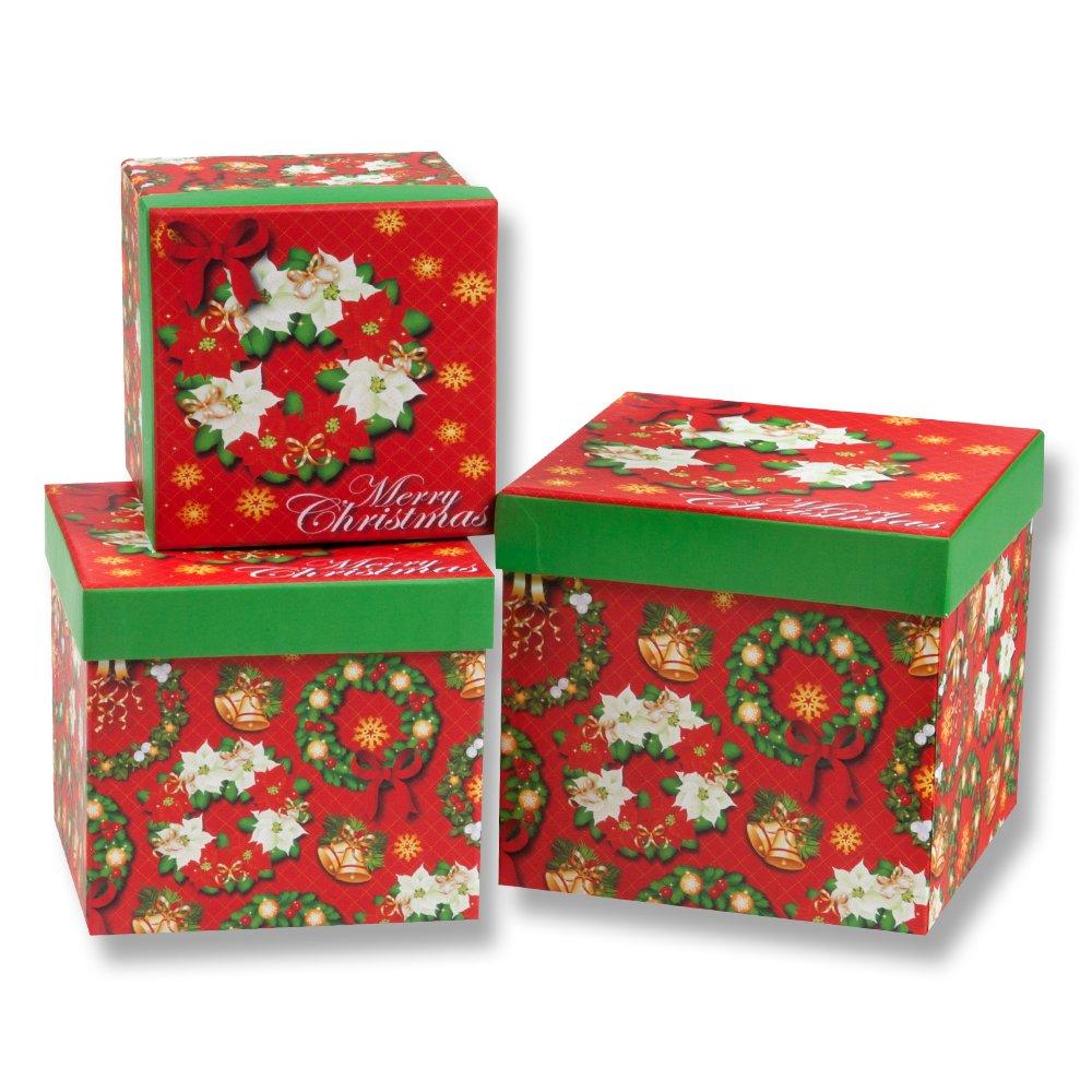 Christmas Wreath Nesting 3 Gift Box Set; 3 Different Sizes