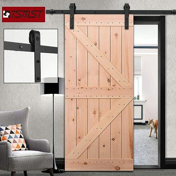 TSMST Sliding Barn Door Hardware Kit Cabinet Closet Track Roller Wheel Quietly
