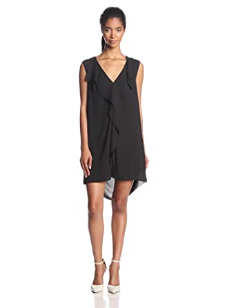 BCBGMAXAZRIA Women's Jena Sleeveless Shift Dress with Front Ruffle, Black, X-Small
