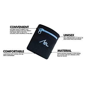 NEWZILL Sports Thick Solid Color Wristband with Zipper/Wrist Wallet (Black/Blue) (Color: Black/Blue)