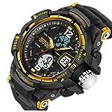 Kids Watches Outdoor Sports Children Watch Quartz Watch Boy Girls LED Digital Alarm Wristwatch Yellow (Color: Yellow)