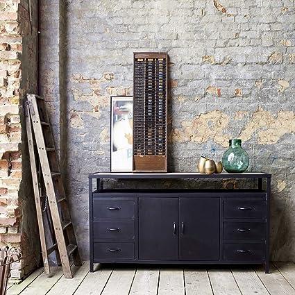 Sideboard 160 cm Anrichte Mangoholz Metall Industriell Design Kommode