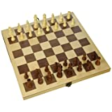 "Hansen Games Classic Natural Wood Wooden Chess Set 15"" Inlaid Board with Hand Carved Chessmen and Storage"