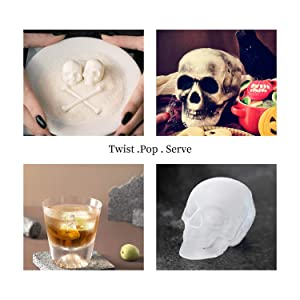 JuneLady Skull Ice Mold Silicone Ice Cube Trays for Whiskey Cocktails and Vodka with Lid (Color: Black)