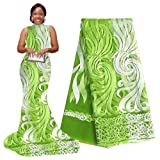 pqdaysun 5 Yards African Net Lace Fabrics Nigerian French Fabric Embroidered and Rhinestones Guipure Cord Lace F50378 (Green) (Color: green, Tamaño: 5 yards)