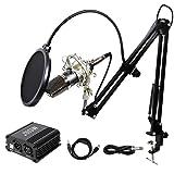 TONOR PRO MICRÓFONO DE CONDENSADOR XLR A 3,5 MM PODCASTING- Estudio de grabación Kit de micrófono de condensador Micrófonos para computadora con fuente de alimentación fantasma de 48 V negro