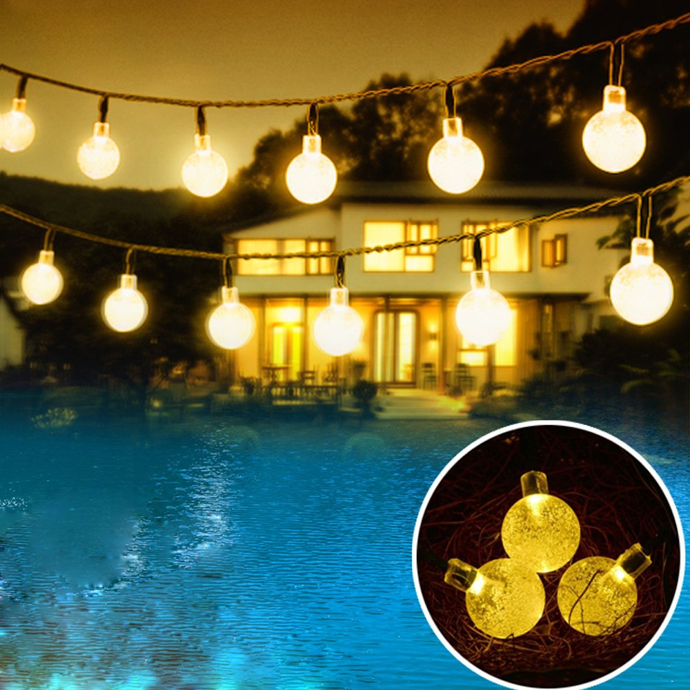 Outdoor Solar Powered String Waterproof Lights 20 Ft Garland 30led Fairy String Lights Bubble