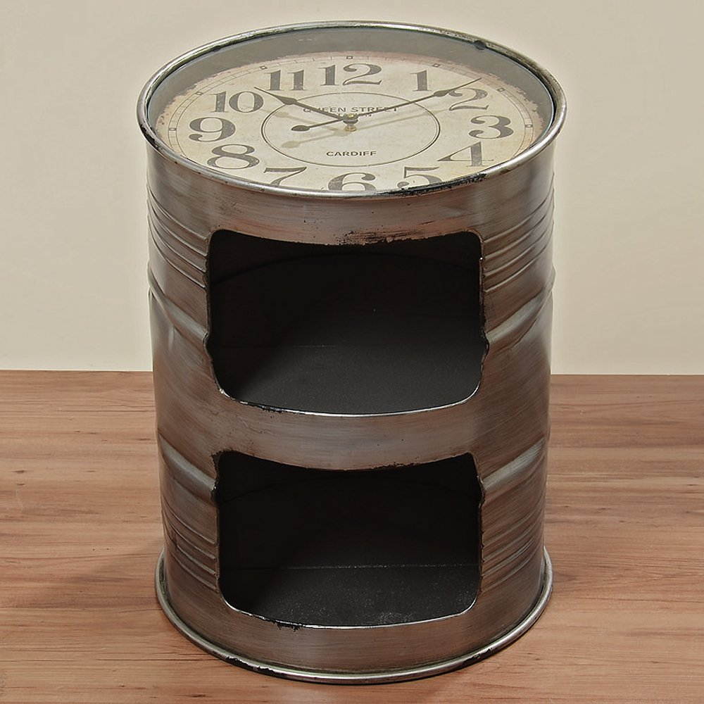 The Industrial Chic Clock Drum Table, Old Storage Barrel Design, Vintage Style, Rustic Metal with 2 Shelves from our Loft Living Collection by Whole House Worlds 0