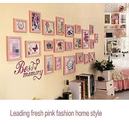 ZZZSYZXL 22 Marco de la habitación dormitorio foto de la pared de madera maciza de estar comedor amplio marco de foto de la pared creativa combinación , pink