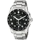 Victorinox Men's 241650 Chrono Classic Analog Display Swiss Quartz Silver Watch (Color: Black/Stainless, Tamaño: 45MM)
