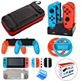 Accessories Kit for Nintendo Switch Games Starter Wheel Grip Caps Carrying Case Screen Protector Controller Charger (17 In 1)