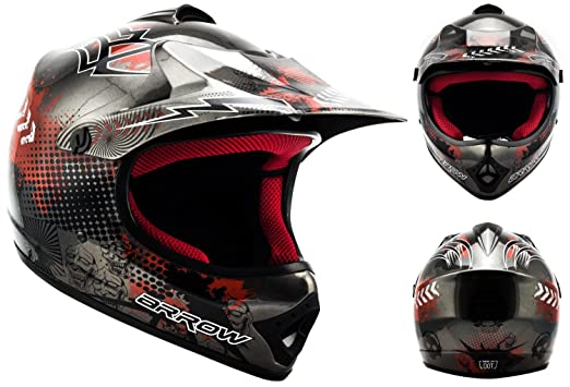 ARROW AKC-49 Titan - gris casque motocross KIDS moto pour enfants Taille: XS S M L XL