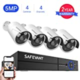 [2019 New] 5MP Security Camera System,Safevant 4CH 4-in-1 5MP DVR Home Security Camera System (NO Hard Drive),4pcs Indoor&Outdoor 5MP Security Cameras with Night Vision,Free App for Smartphone Remote (Color: A-4CH 5MP DVR+4PCS 5MP Cameras NO HDD, Tamaño: Wired Security Camera System)