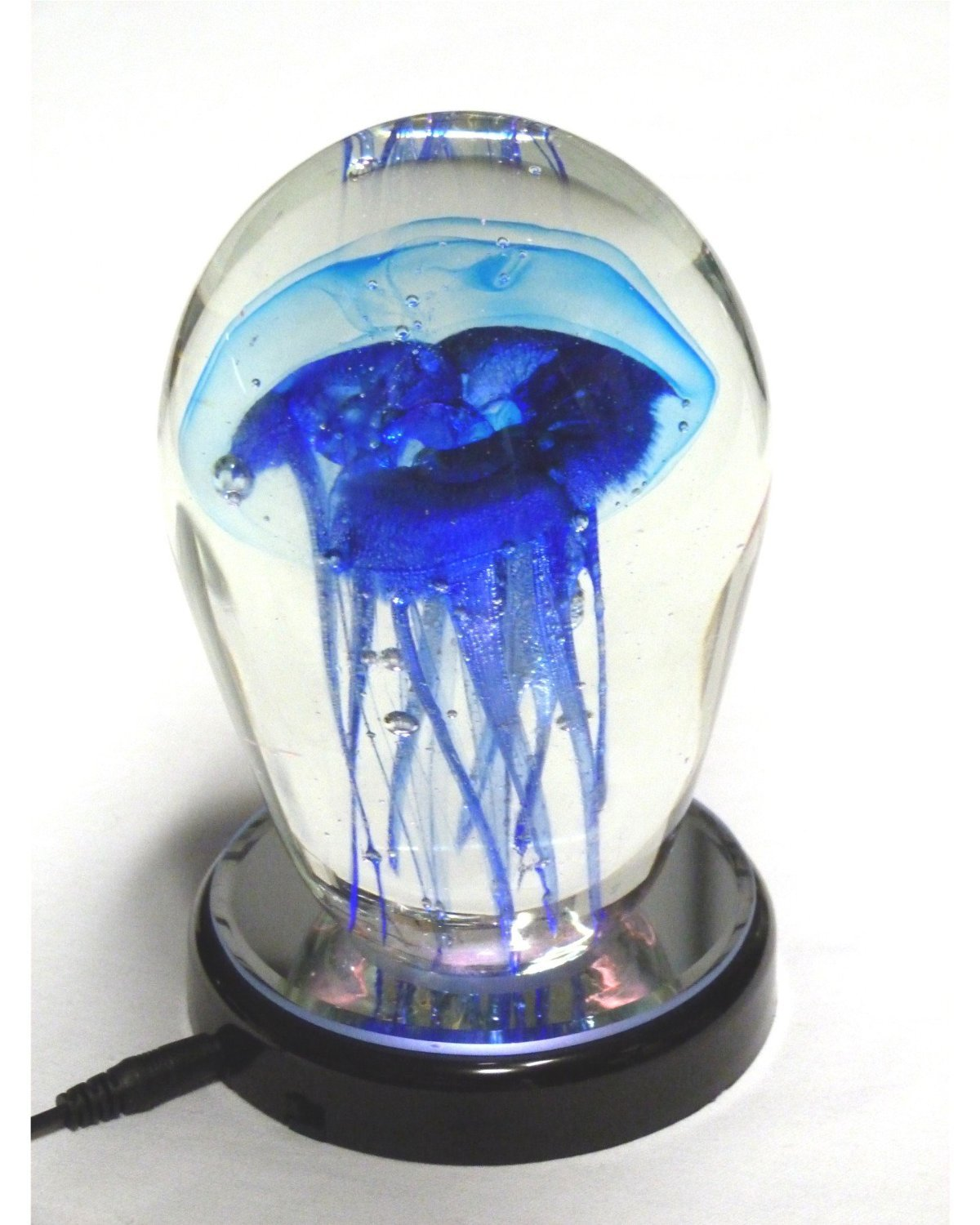 "5.5"" Blue Glass Jellyfish On LED Light Stand Night Lights"