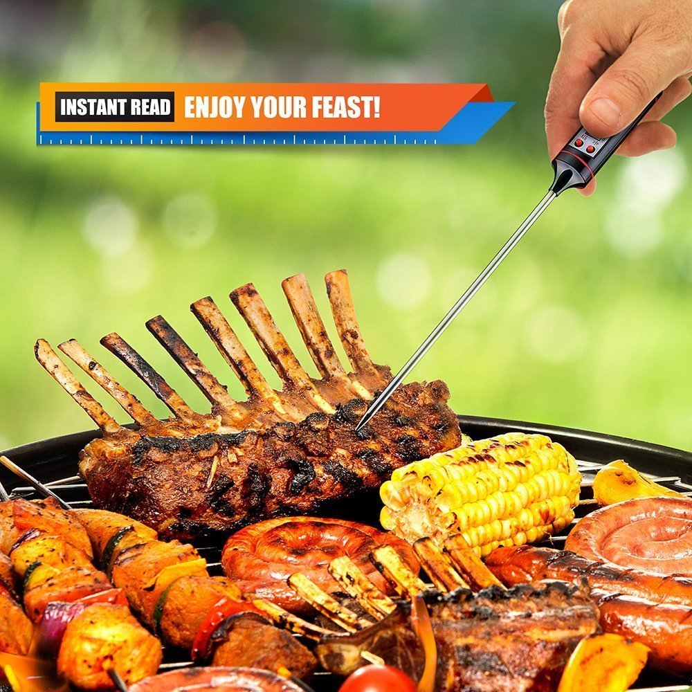 Habor CP1 Meat Thermometer Digital Cooking Thermometer [5.9 Inch Long Probe] with Instant Read, LCD Screen, Anti-Corrosion, Best for Kitchen, Grill, BBQ, Milk, and Bath Water