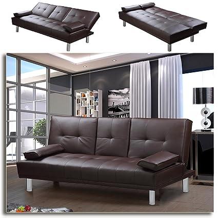 """MANHATTAN"" Funktionssofa Braun Schlafsofa Sofa Kunstleder Bettsofa Lounge Couch"