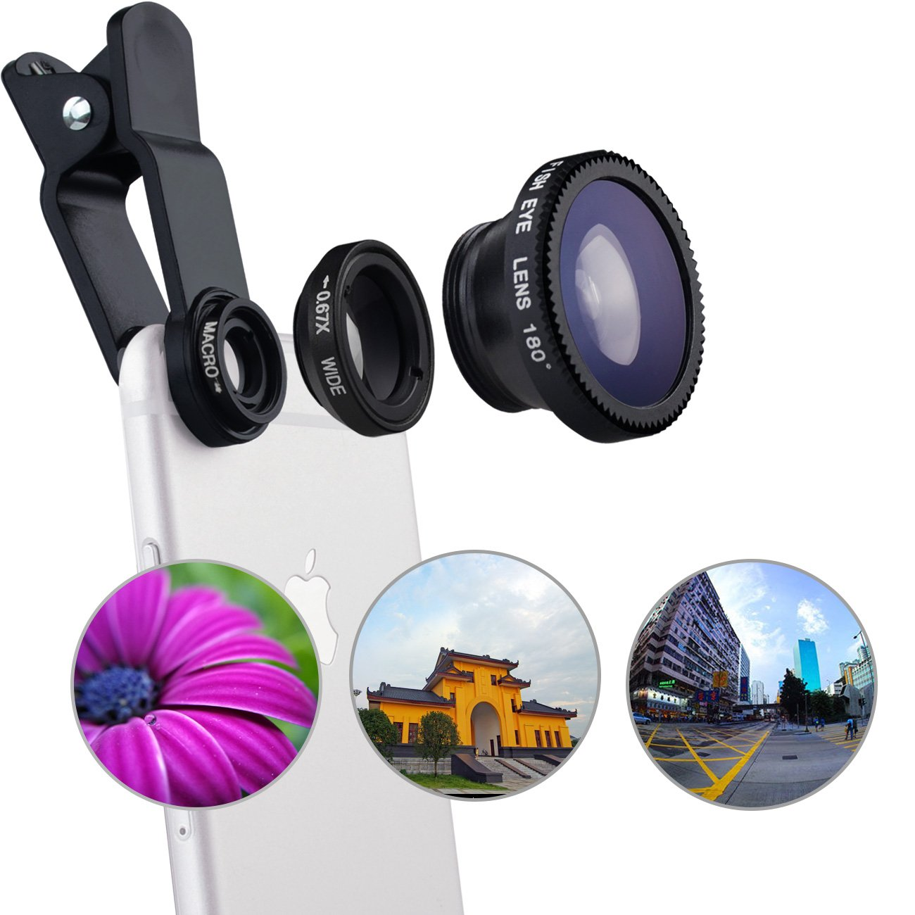 MaxMall 3 in 1 Universal Clip-on Cell Phone Camera Lens Kit ,with 180 Degree Fish Eye Lens + Macro Lens & Wide Angle Lens for iPhone 6s Plus, 6 plus, Samsung s6, Note 4,Sony and More -Black