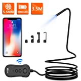 Wireless Endoscope, KZYEE 5.5mm 2.0MP 1080P HD Zoom WiFi Borescope, 2200mAh Semi-Rigid Snake Inspection Camera for Android & iOS Smartphone Tablet(11.5FT) (Color: 2-3.5 Cable, Tamaño: 3.5M)