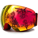 JULI Ski Goggles,Winter Snow Sports Snowboard Goggles with Anti-fog UV Protection Interchangeable Spherical Dual Lens for Men Women & Youth Snowmobile Skiing Skating (Color: Red(VLT 25.4%)Lens)
