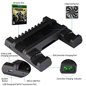 KINGTOP Vertical Cooling Fan Cooler Stand for PS4/PS4 Slim/PS4 Pro, Controller Charger with LED Indicators Charging Dock Station with 10PCS Games Storage (Color: Black)