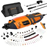 Enertwist 170W Rotary Tool Kit Variable Speed Control w/Keyless Chuck, Flex Shaft, 10 Attachments and 130 Accessories for Woodworking Metalworking DIY Crafting and Car Care, ET-RT-170 (Color: Orange, Tamaño: Medium)