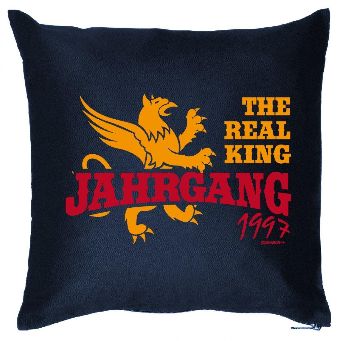 Couch Kissen mit Aufdruck zum Geburtstag – The real King Jahrgang 1997 – Sofakissen Wendekissen mit Spruch und Humor günstig online kaufen