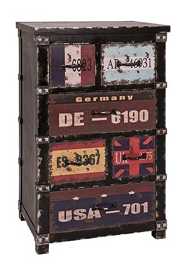 Kommode in schwarz-vintage mit 6 Schubladen; Maße (B/T/H) in cm: 54 x 37 x 87