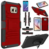 Note 5 Case, EC™ Hard Shock-Resistant Heavy Duty Armor Holster Protective Case Cover with Belt Swivel Clip + Kickstand for Samsung Galaxy Note 5 (Red/Black) (Color: Red/Black)