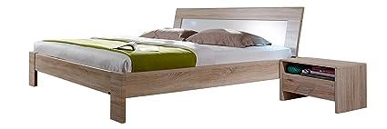 Wimex 649141 Bettanlage bestehend aus Bett und zwei Nachtschränken in Eiche Sägerau, Absetzungen, 180 x 200 cm, weiß