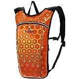REINOS Hydration Backpack - Light Water Pack - 2L Water Bladder Included for Running, Hiking, Biking, Festivals, Raves (Orange) (Color: Orange)