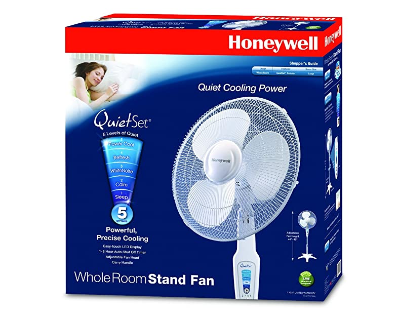 Honeywell Stand Fan : Honeywell quietset quot stand fan white
