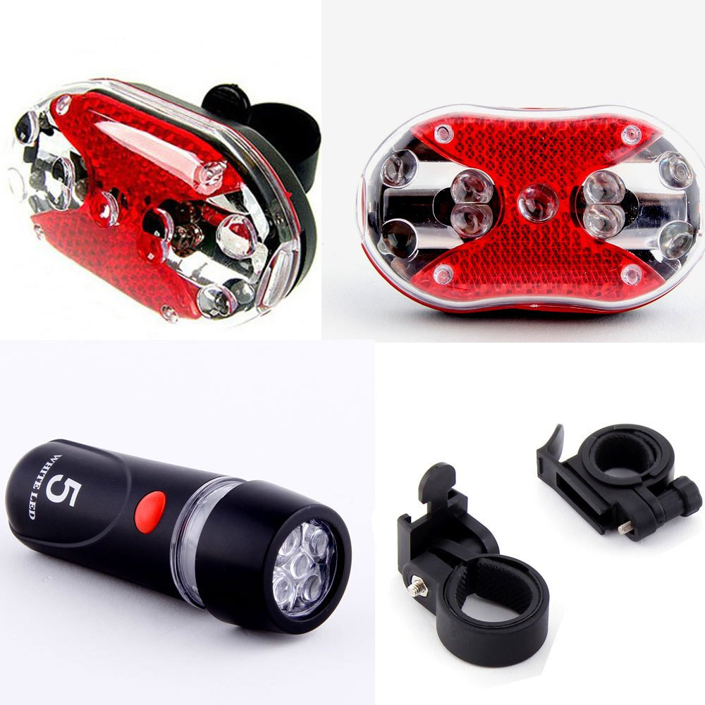 SODIAL(R) Cycling Bicycle 5 LEDs Front Head light 9 LEDs Back Rear Flashlight Ultra Bright 180 16 9 fast fold front and rear projection screen back
