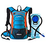 MIRACOL Hydration Backpack with 2L Water Bladder, Thermal Insulation Pack Keeps Liquid Cool up to 4 Hours, Perfect Outdoor Gear for Skiing, Running, Hiking, Cycling (Blue and Orange) (Color: Blue + Orange)