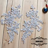 2 Pcs Gray Flower Lace Patches for Wedding Dress DIY Clothing Flower Applique Collar Material (Color: Gray)