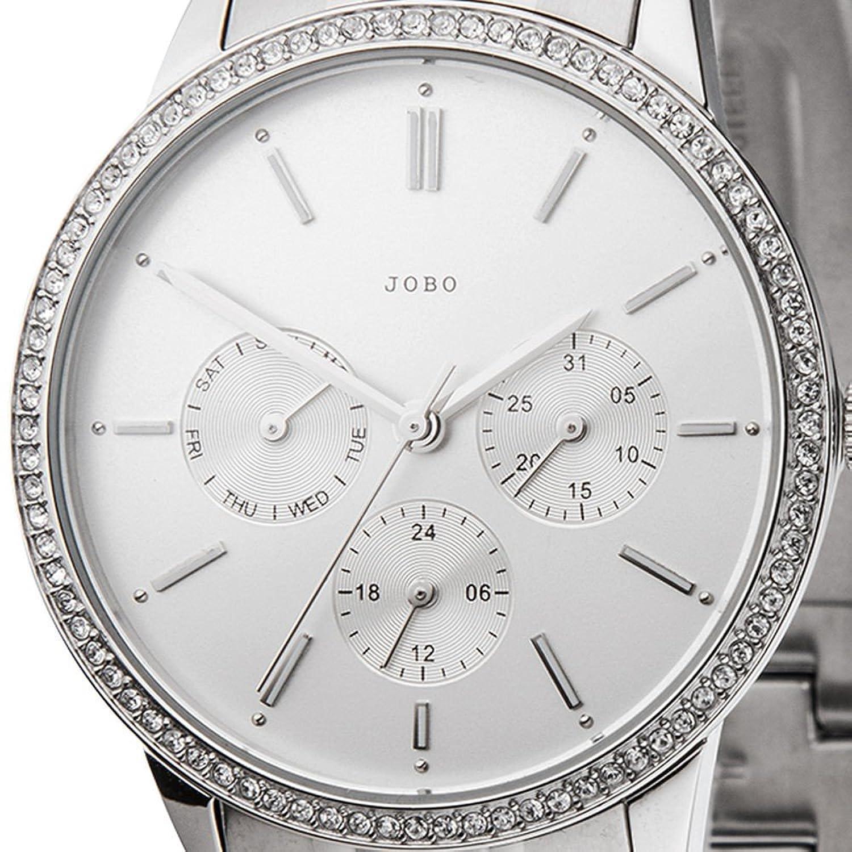 Damen-Armbanduhr Quarz Analog Edelstahl mit Kristall-Elements Mineralglas jetzt kaufen
