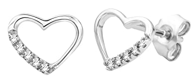 Miore 9 ct White Gold 0.07 ct Diamond Stud Earrings
