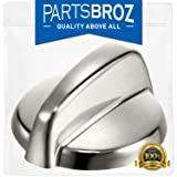 WB03T10284 Burner Control Knobs for GE Stoves, Stainless Steel Finish by PartsBroz - Replaces Part Numbers WB03T10284, AP4346312, 1373043, AH2321076, EA2321076, PS2321076 (Color: As shown in the picture)