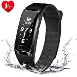 HOMESTEC Blood Pressure Fitness Tracker S4Plus Smart Watch with SPO2H Heart rate monitor Sleeping Management Pedometer with OLED Touch Screen for Android iOS, Military Time available (Black) (Color: Black)