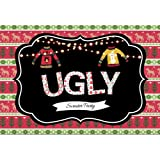 Leowefowa 7x5ft Ugly Sweater Themed Christmas Party Backdrop Shiny Light Bulbs Xmas Deer Trees Step and Repeat Party Banner Winter Tacky Holiday Party Decoration Selfie Portrait Photo Booth Props (Color: GSW06704, Tamaño: 7x5ft)