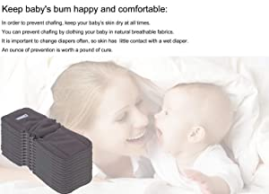 Black//Medium High Absorbing Washable Diaper Liners for Babies. Anmababy 12 Pack Soft Antibacterial and Reusable 5 Layers Charcoal Bamboo Cloth Diaper Inserts