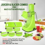 Chefzone Fruit & Vegetable Fruit & Vegetable Manual Juicer Mixer Grinder,6 In 1 Multi-Purpose Fruit & Vegetable Slicer with Built-in Blades & Multi Veg Cutter With Peeler (Green, Set of 9) (Color: Green, Tamaño: Small)