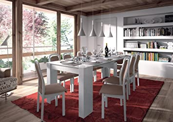 Extensible dining table MOD. DINNER WHITE